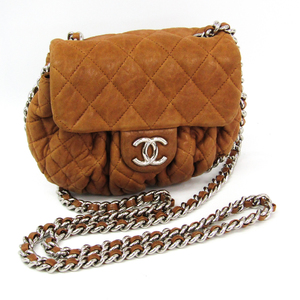 Chanel Matelasse Chain Around A49889 Women's Leather Shoulder Bag Camel