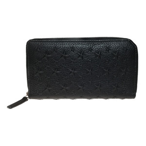 Auth Jimmy Choo CARNABY EMBOSSED STARS Long Wallet (bi-fold) Black Grain leather