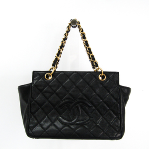 Chanel Matelasse Chain Women's Caviar Leather Handbag Black