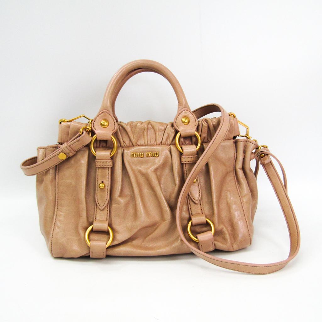 4a6b219bf338 Miu Miu Women s Leather Handbag Pink Beige BF335861