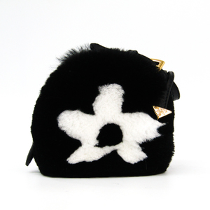Prada Women's Fur Pouch Black,White