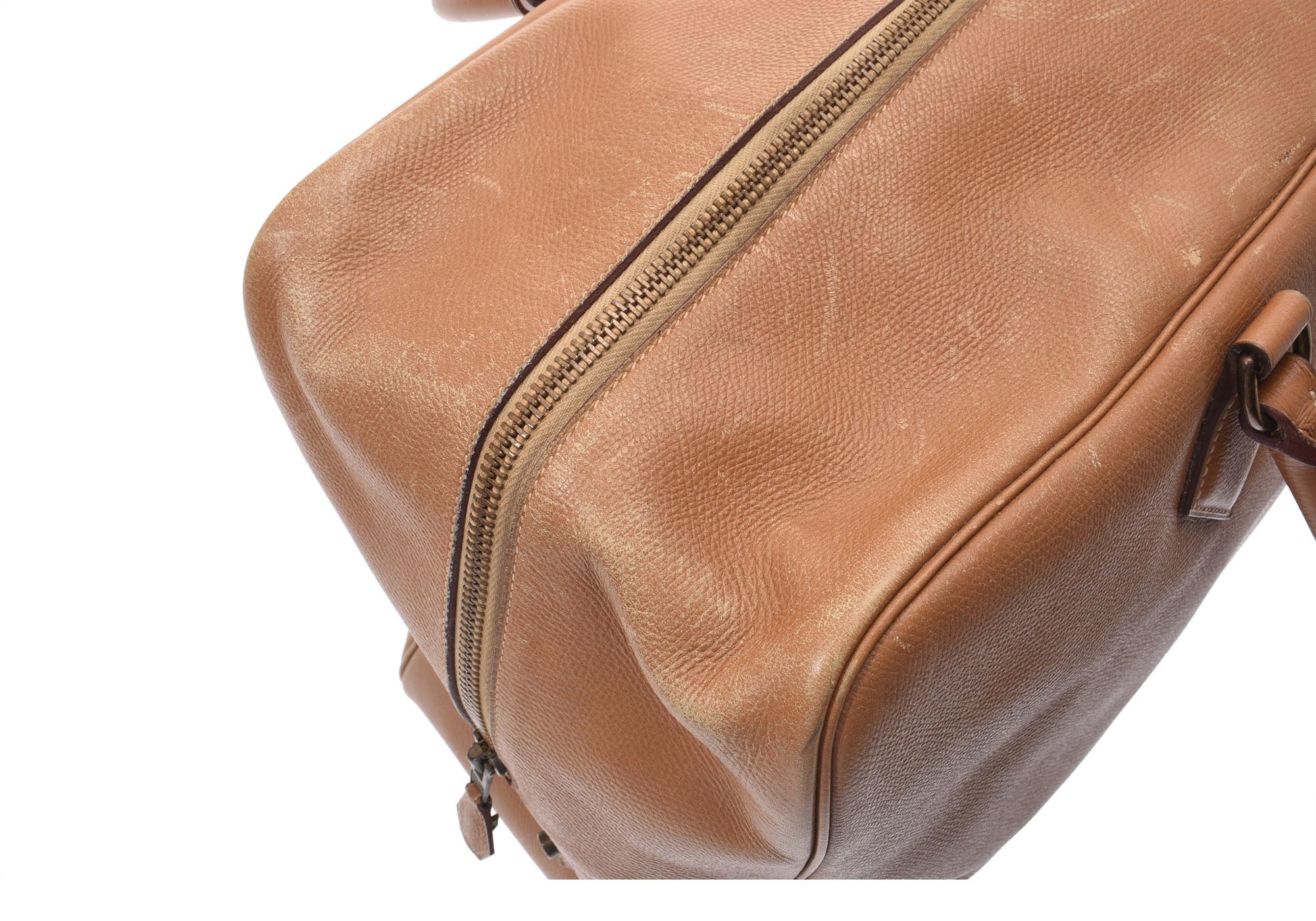 9067d92cfa71 Authentic Hermes Plume 45 Courchevel Leather Bag Natural ...