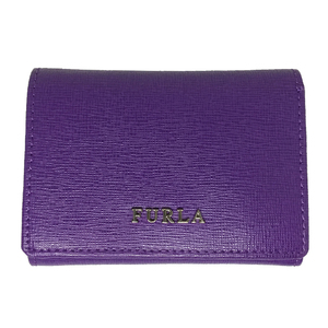 Auth Furla 992622 Wallet (tri-fold) Purple Double  Hooks