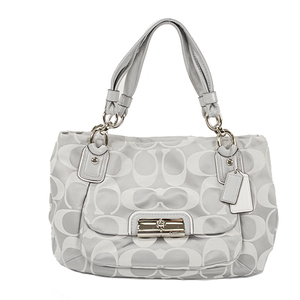 Auth Coach Tote bag Kristin Signature Satin Zip-top Tote Gray