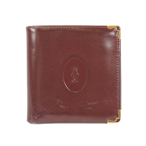 Auth Cartier Wallet (bi-fold) Must Bordeaux