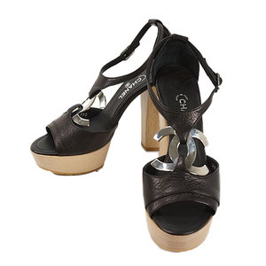 Auth Chanel Sandals Black Silver