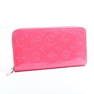 Louis Vuitton Monogram Vernis Zippy Wallet Women's Patent Leather Wallet Rose Litchi