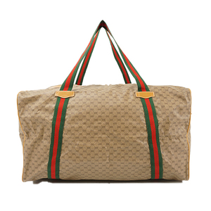 Auth Gucci Boston Bag Old Gucci Duffel Bag Beige