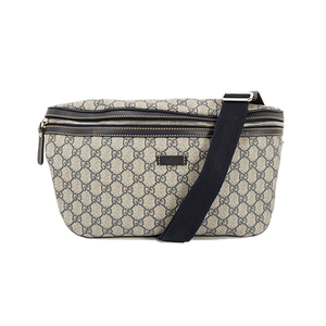 Auth Gucci Shoulder Bag GG Supreme Black Silver