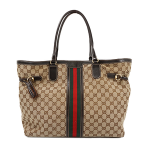 Auth Gucci Tote Bag GG Canvas Brown Gold