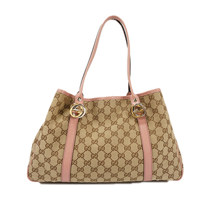 Auth Gucci Tote Bag GG Canvas Pink Silver