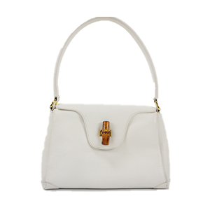 Auth Gucci Shoulder bag Bamboo One Shoulder Bag White Gold