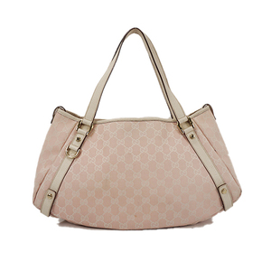 Auth Gucci Tote Bag GG Canvas Pink Gold