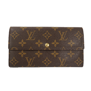 Auth Louis Vuitton Long Wallet Monogram Pochette Porto Monet Credit M61726