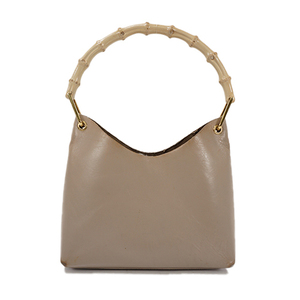 Auth Gucci Handbag Bamboo Beige Gold