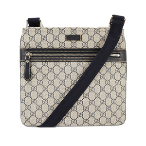 Auth Gucci Shoulder Bag GG Supreme Navy Silver