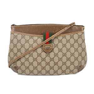 Auth Gucci Shoulder Bag GG Plus Beige Gold Silver