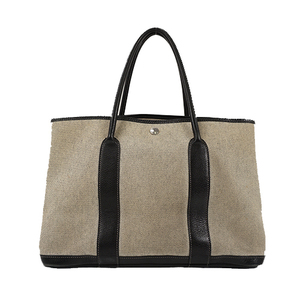 Auth Hermes Tote Bag Garden Party PM □G Toile H Ivory
