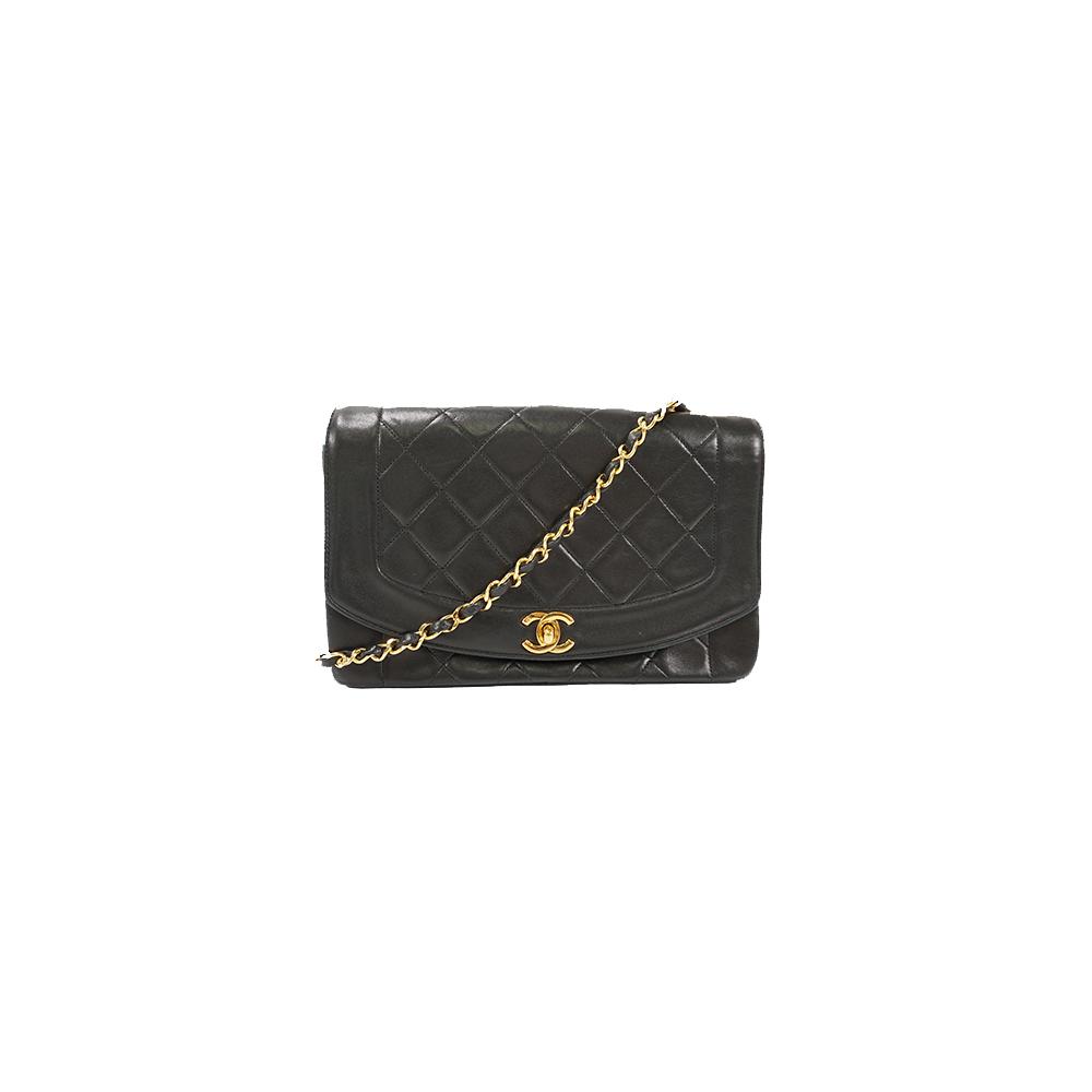 8921a2be502 Auth Chanel Shoulder Bag Matelasse Diana Chain Shoulder Lambskin Black