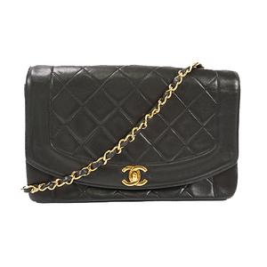 Auth Chanel Shoulder Bag Matelasse Diana Chain Shoulder Lambskin Black