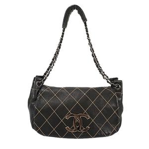 Auth Chanel Shoulder Bag Wild Stitch  lambskin Black silver