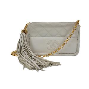 Auth Chanel Shoulder Bag Matelasse Fringe Chain Shoulder Lambskin White