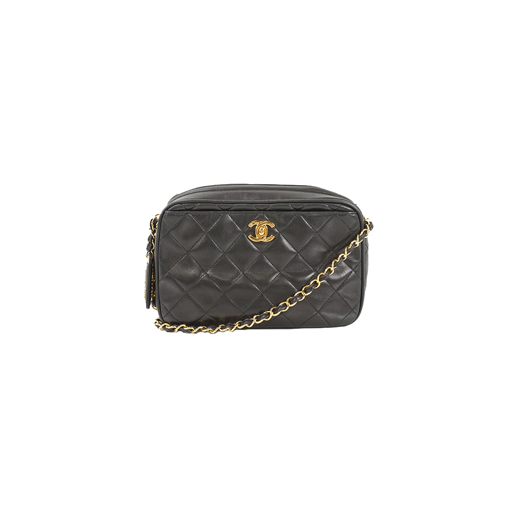 Auth Chanel Shoulder Bag Matelasse lambskin Black Gold 6ccf8377ba