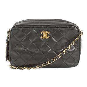 Auth Chanel Shoulder Bag Matelasse lambskin Black Gold