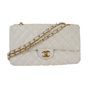 Auth Chanel Shoulder Bag Matelasse Wchain Wflap Caviarskin White
