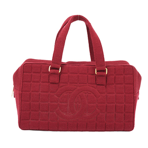 Auth Chanel Boston Bag Chocolate Bar wine red Gold