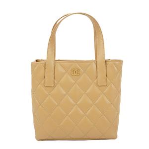 Auth Chanel  Handbag Wild Stitch Beige Gold