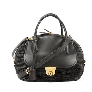 Auth Salvatore Ferragamo Handbag Gancini Black Gold