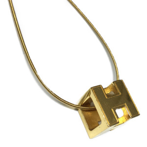 Auth Hermes Cage D'h H Cube Necklace Women's Silver