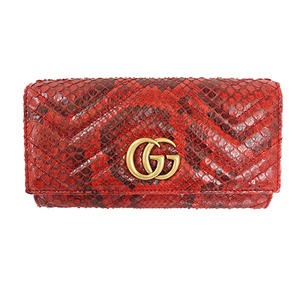Auth Gucci Wallet GG Mermont Red Gold