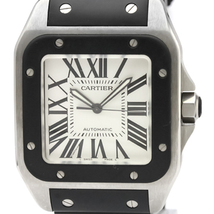 CARTIER Santos 100 Steel Rubber Automatic Mens Watch W20121U2