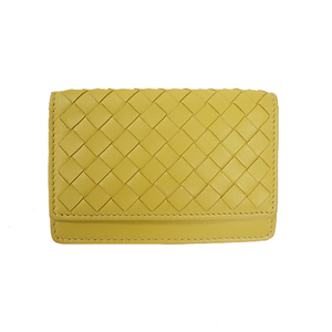 Auth Bottega Veneta Card Case Intrecciato Yellow