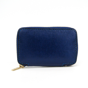Valextra Leather Coin Purse/coin Case Royal Blue