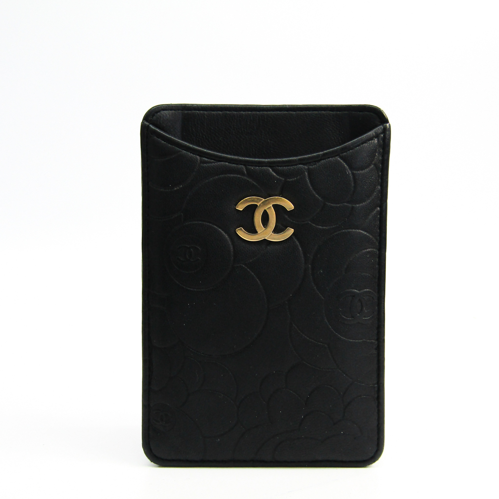 a979cf60764f Chanel Leather Phone Pouch/sleeve For IPhone 4 Black Camellia BF335731