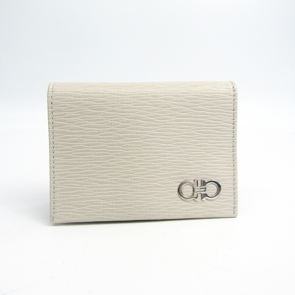 340f98b8246ed Salvatore Ferragamo Gancini 66 A062 Leather Business Card Case Off-white