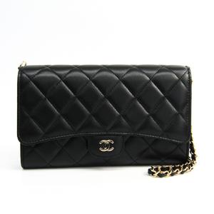 Chanel Matelasse Women's  Lambskin Chain/Shoulder Wallet Black