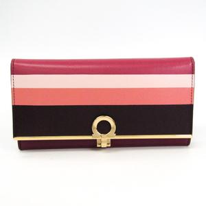 Salvatore Ferragamo Gancini 22 C413 Women's Leather Long Wallet (bi-fold) Purple,Pink