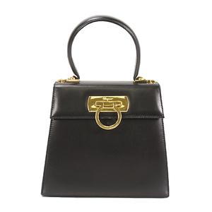 Auth Salvatore Ferragamo 2WAY Bag Gancini Black Gold