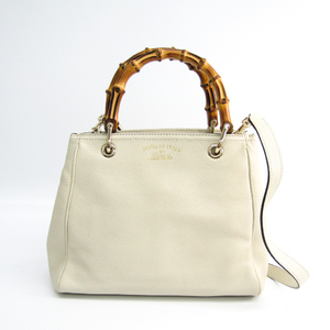 Gucci 336032 Bamboo Shopper Medium Women's Leather Handbag Off-white
