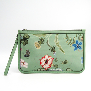 Gucci Flora 379277 Women's Nylon Canvas Clutch Bag Green