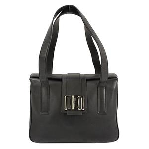 Auth Salvatore Ferragamo Hand Bag Leather Black