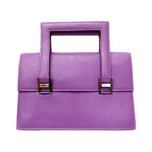 Hermes Chevre Leather Handbag Cyclamen