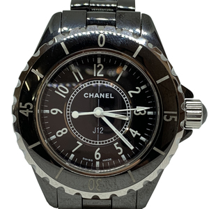 Auth Chanel J12 Quartz Ceramic Watch Black