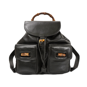 Auth Gucci Backpack Bamboo Black Gold