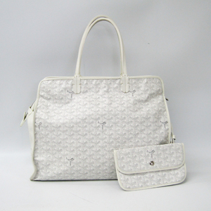 Goyard Le Chic Du Chien Hardy PM Leather,Canvas Tote Bag White
