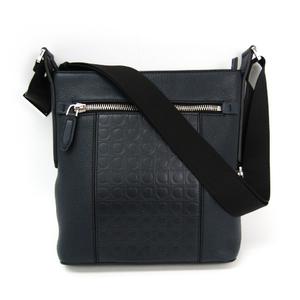 Salvatore Ferragamo Gancini 24 0866 Men's Leather Shoulder Bag Navy